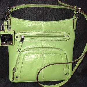 Tignanello Green Pebbled Leather Crossbody